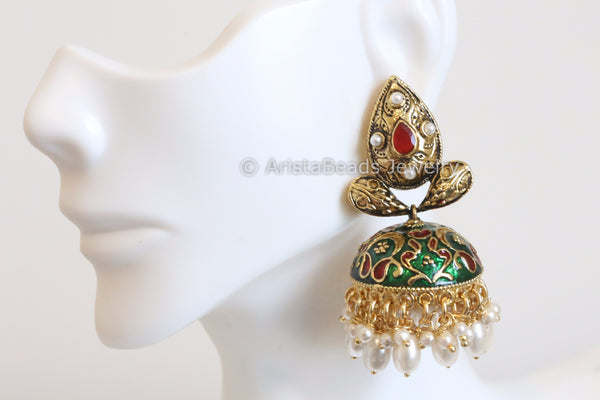 Green Red Enamel Jhumka