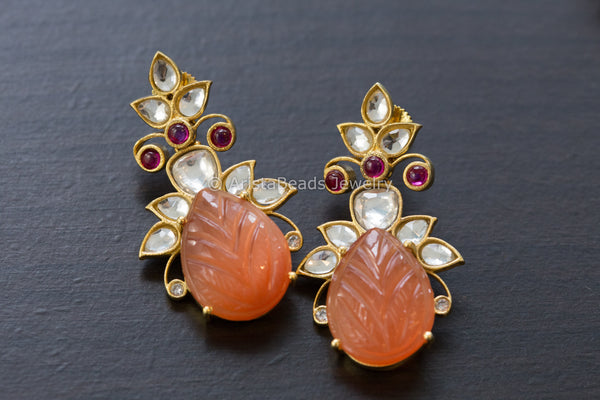 Designer Kundan Earrings - Orange