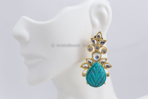 Designer Kundan Earrings - Turquoise