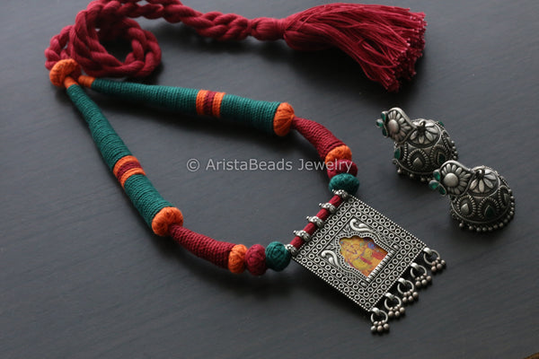 Green Red Ganesha Jharoka Necklace