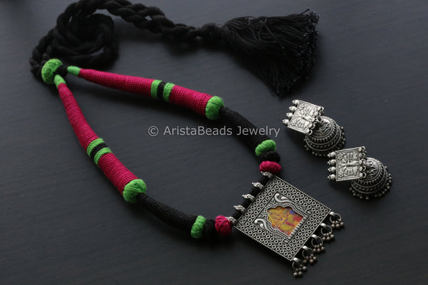 Magenta Blank Ganesha Jharoka Necklace
