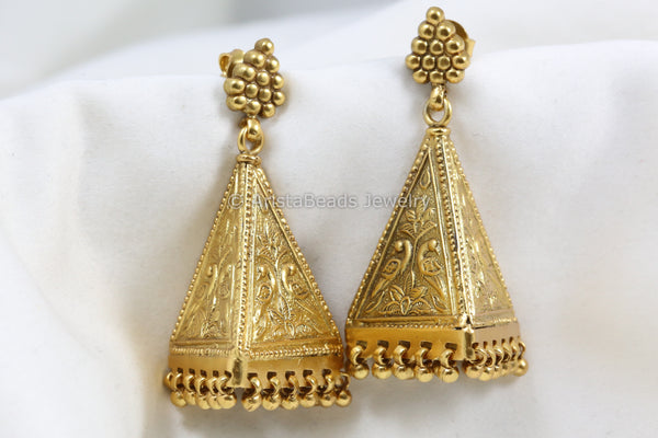 Unique Gold Plated Silver Earrings