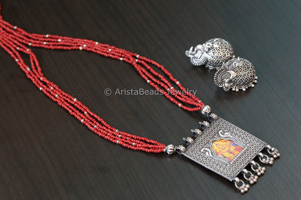 Silver Tone Ganesha Necklace