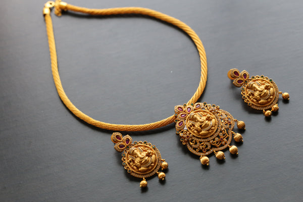 Matt Gold Ganesha Polki Necklace