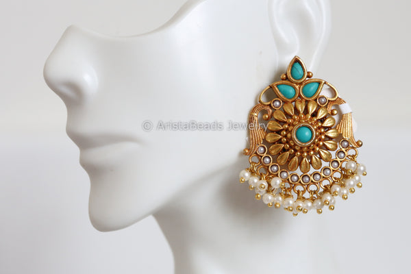 Designer Antique Finish Turquoise Chandbaali