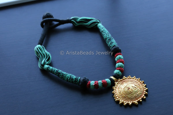 Geru Necklace Green  Thread