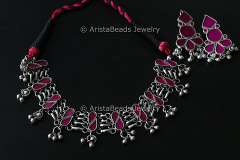 Pink Afghani Real Glass Necklace