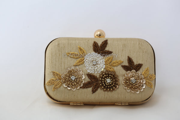 Zardozi & Sequin Embellished Gold Clutch