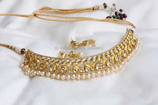 Kundan Choker With Pearl Drops