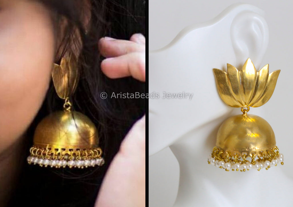 Large Matt Finish Lotus Jhumka