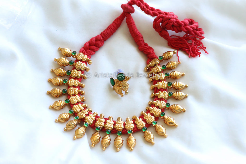 Gold Lakshmi Necklace in Antique Finish