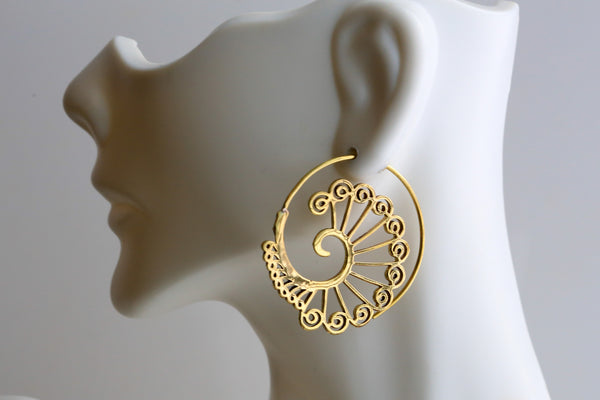 Tribal Brass Spirals Earrings  -Gold and Silver - AristaBeads Jewelry - 6