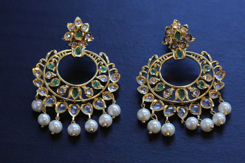 Delicate Emerald Uncut Polki Earrings
