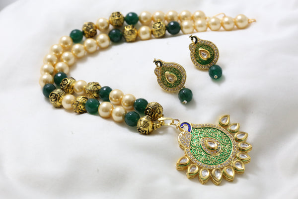 Green Enamel Kundan Pearl Necklace