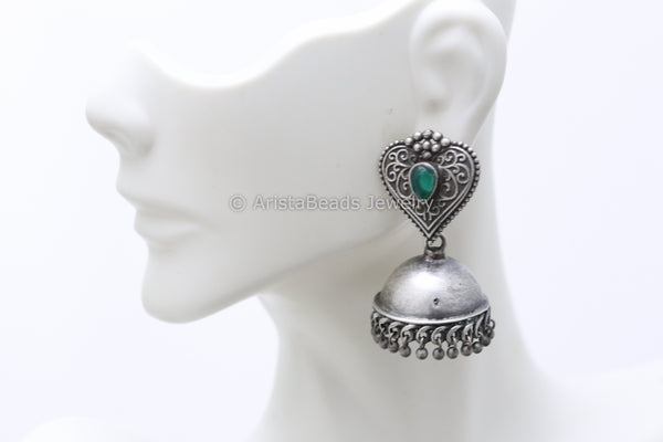 Emerald Leaf Silver Plated Jhumka