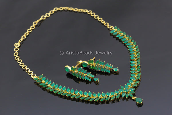 Delicate Green Polki Necklace