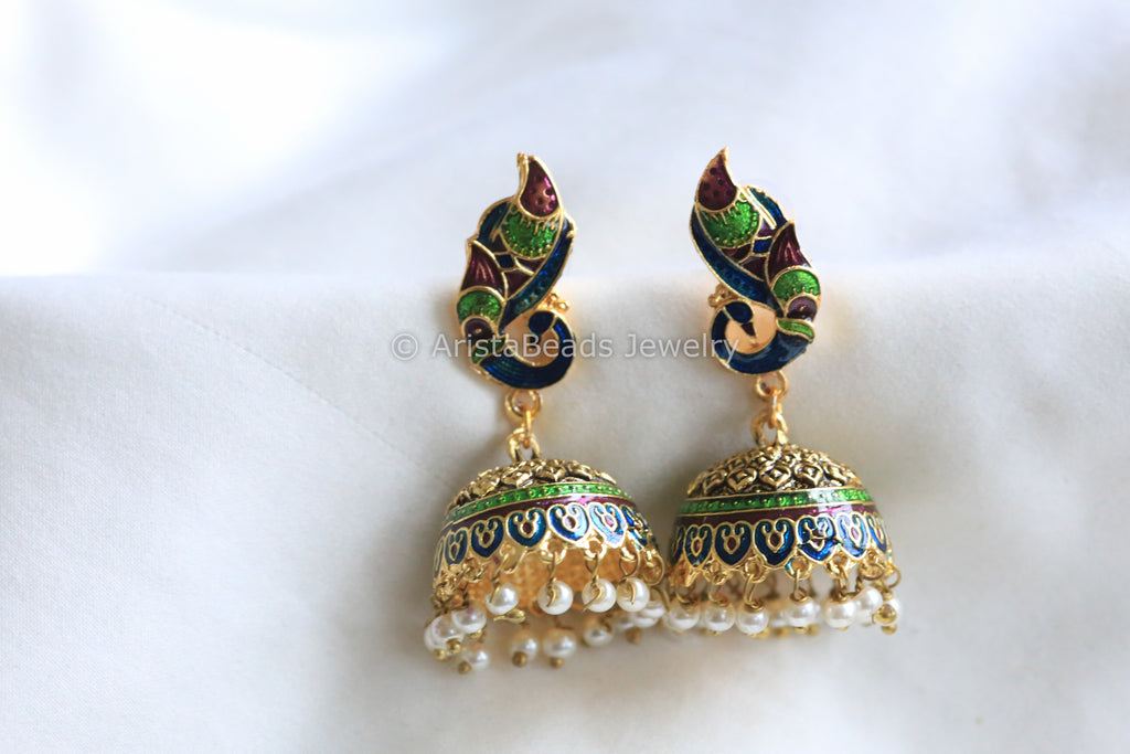 Green Blue Enamel Jhumka