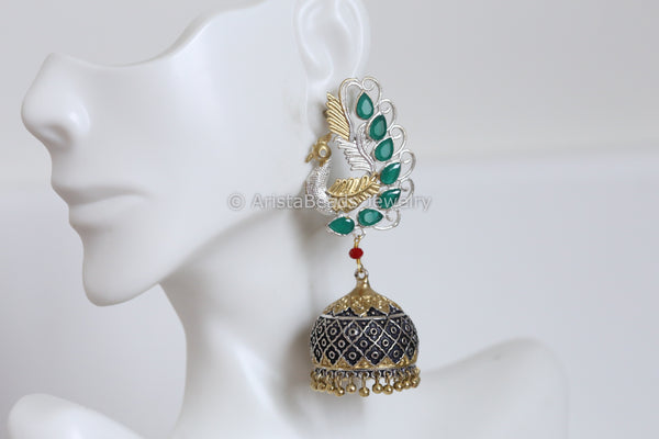 Peacock Green  Jhumka