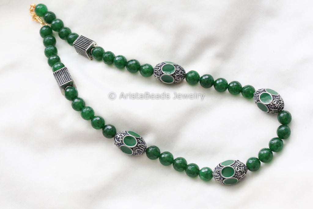 Enamel Beaded Necklace - Green
