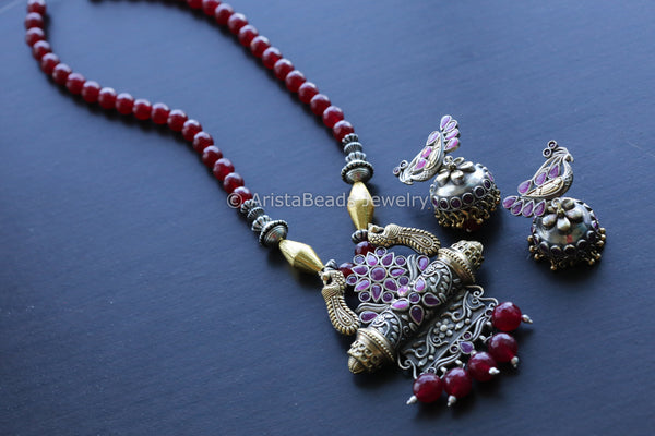 Dual Tone Ruby & Gold Beaded Necklace
