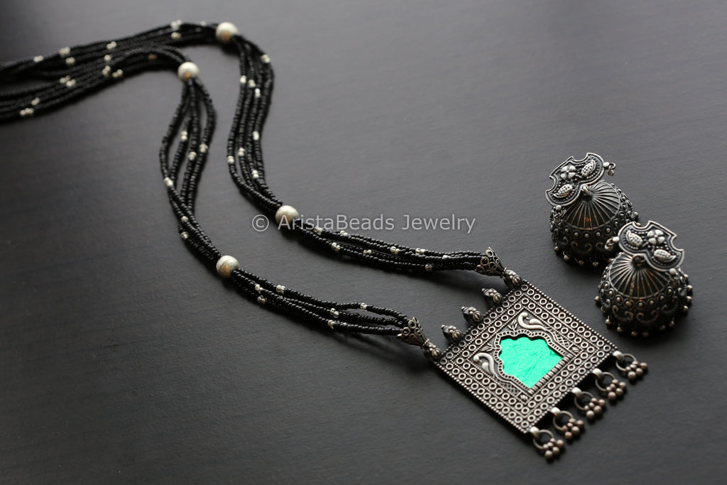 Silver Tone Green Jharoka Necklace