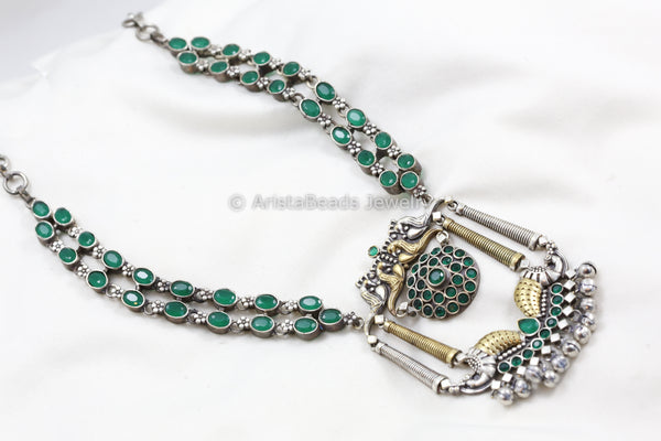 Dual Tone Emerald  Necklace