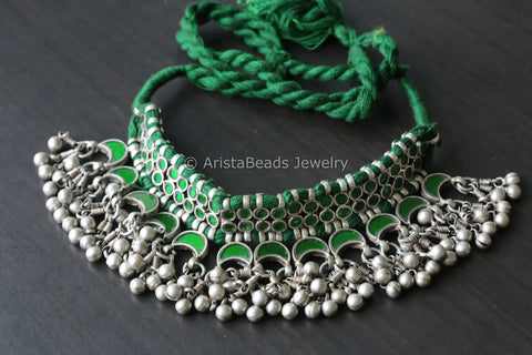 Green Glass Afghan Choker Necklace