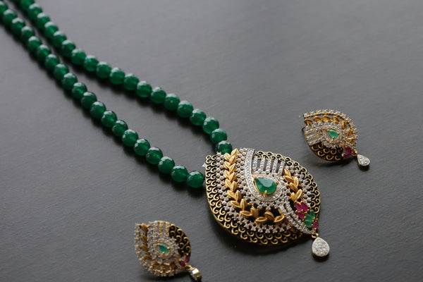 CZ Pendant Set in Emerald Bead Chain
