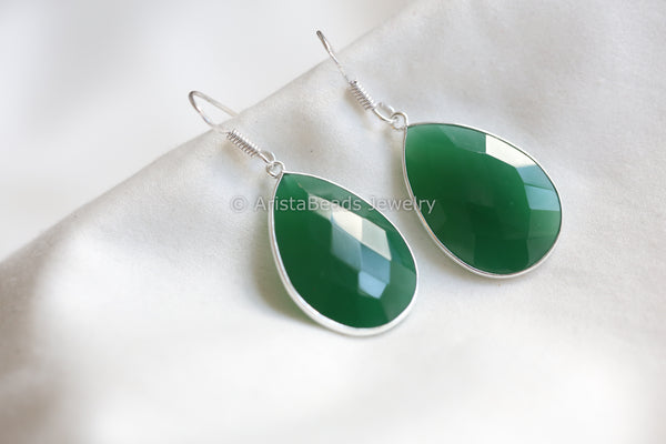 Green Onyx Silver Earrings