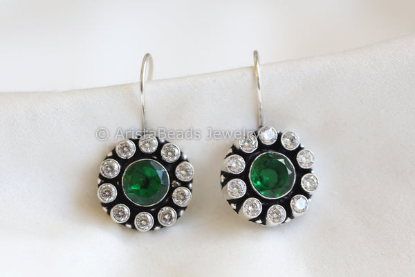 Silver Plated Green  CZ Drops