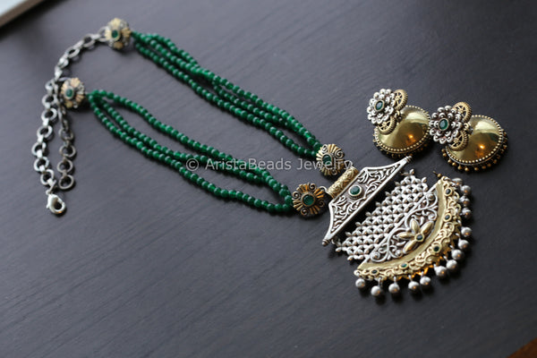 Beaded Silver Look Dual Tone Necklace - Green