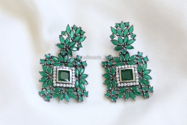 Reserved> Emerald CZ Designer Earrings