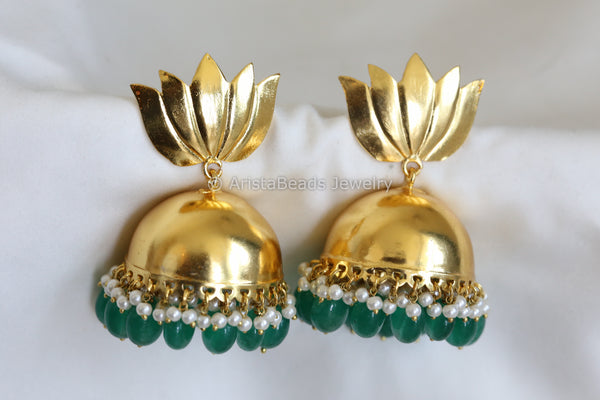 Large Matt Gold Emerald Lotus Jhumka