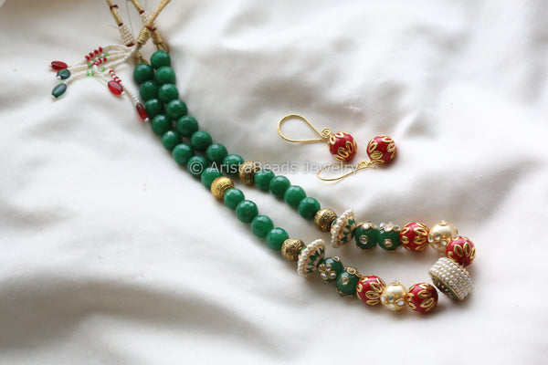 Jadau Emerald Green Beaded Mala