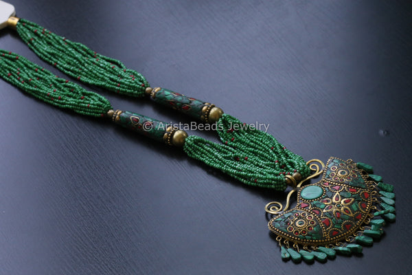 Green Malachite Beaded Nepali Necklace