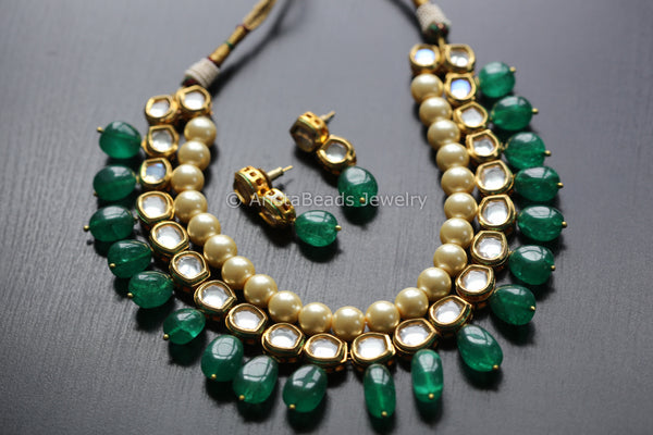 Kundan Necklace Set With Emerald Drops