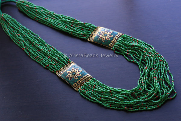 Green Beaded Tribal necklace