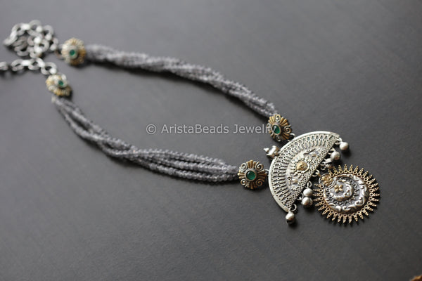 Grey Green Dual Tone Beaded Necklace
