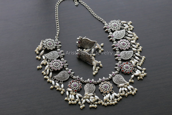 Multicolor Stones Oxidized Guttapasulu Necklace
