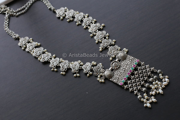 Oxidized Silver Finish Haram - Ruby Green