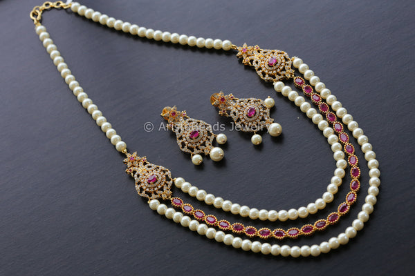 Reserved for Nikki> Delicate Layered Ruby Pearl Necklace