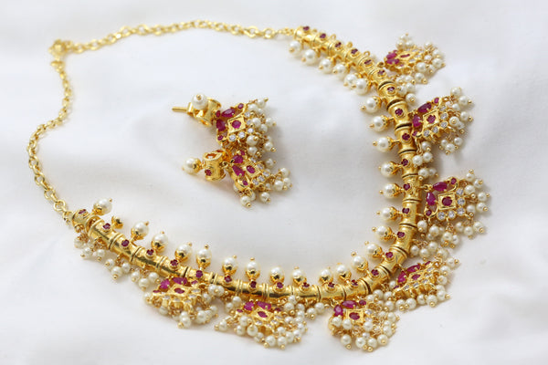 Traditional Guttapusalu Ruby Pearl Necklace