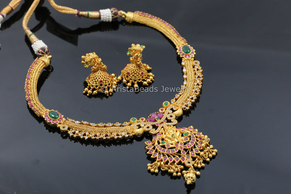 Antique Gold  Look Polki Necklace