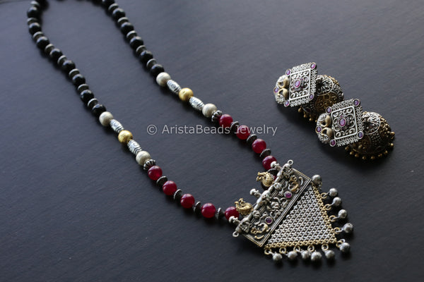 Silver Look Dual Tone Black Ruby Necklace