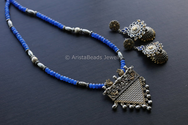 Silver Look Dual Tone Blue Necklace