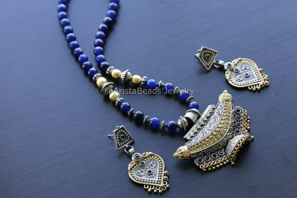 Blue Dual Tone Tabeez Necklace