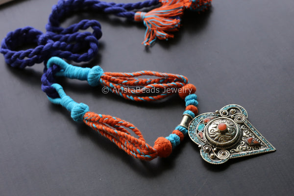 Silver Look Handmade Tibet Necklace