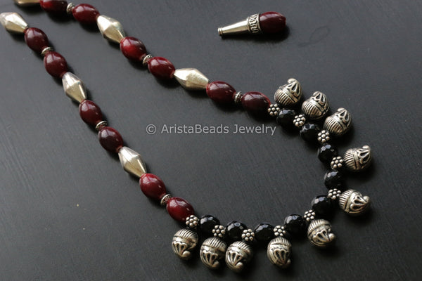 Red Black Dholki Beaded Necklace