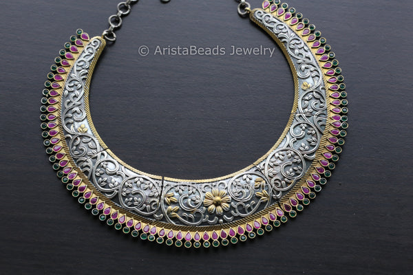 Tribal Ruby Emerald Hasli Necklace