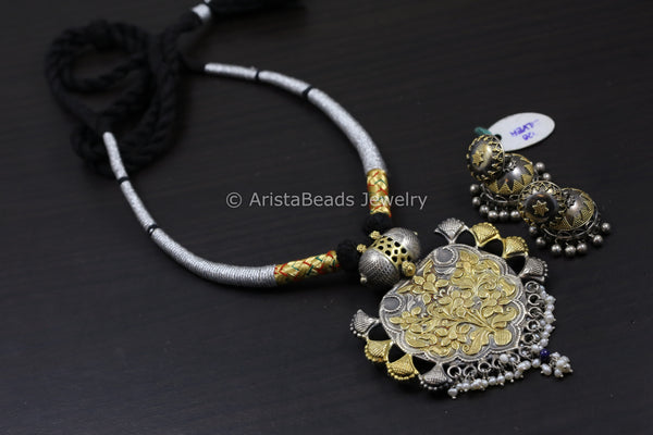 Sterling Silver Thread Hasli 2 Tone Necklace